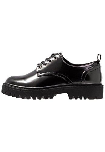 Even&Odd Damen Freizeitschuhe - Schnürer mit Blockabsatz - Schuhe zum Schnüren in Schwarz, Größe 40