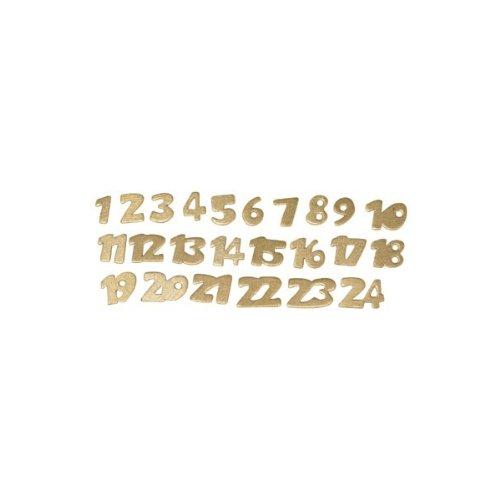 RAYHER-8694606-Numeri in legno per calendario dell' avvento, 2cm, SB BTL. 24pezzi, colore oro