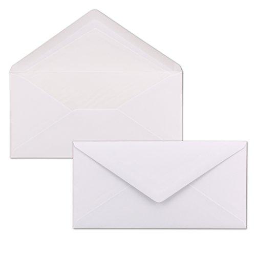 50 Briefumschläge Weiß - DIN Lang - gefüttert mit weißem Seidenpapier - 100 g/m² - 220 x 110 mm - Nassklebung - Qualitätsmarke: NEUSER Seta