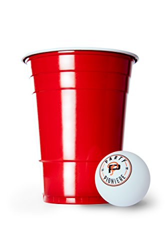 100 Rote Becher + 6 Beer Pong Bälle + Gratis E-Book Guide | Premium Beer Pong Becher (16oz/473ml) | Red Cups als Party Zubehör | rote Partybecher im Beer Pong Set by Party Pioniere