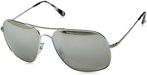 RAYBAN JUNIOR Herren Sonnenbrille RB3587 Chromance, Shiny Silver/Greymirgreygradientpolar, 61