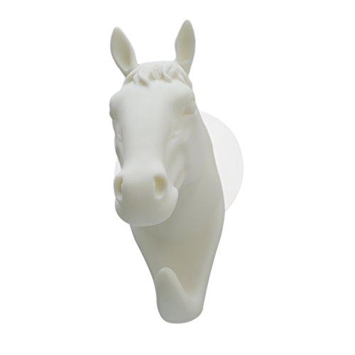 Idiytip Tier Pferd Geformt Weiß Einzigen Saugnapf Haken Tier Wandhalter Dekoration Für Badezimmer -