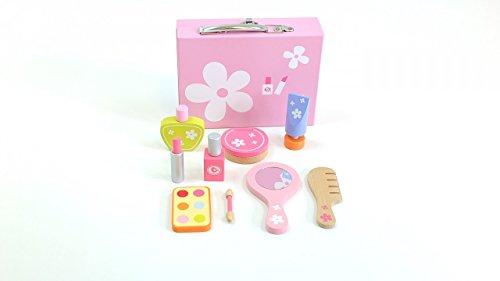 Unbekannt Schöner Kosmetik-Koffer 9 Kosmetikartikeln / Holz / Koffer mit Metallgriff + Metallverschluß / Maße des Koffers: 21 x 16 x 6 cm / ab 3 Jahre -