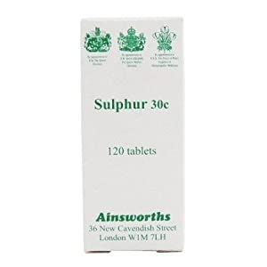 Ainsworths Sulphur 30C Homoeopathic Rem 120 tablet X 3 (Pack of 3)