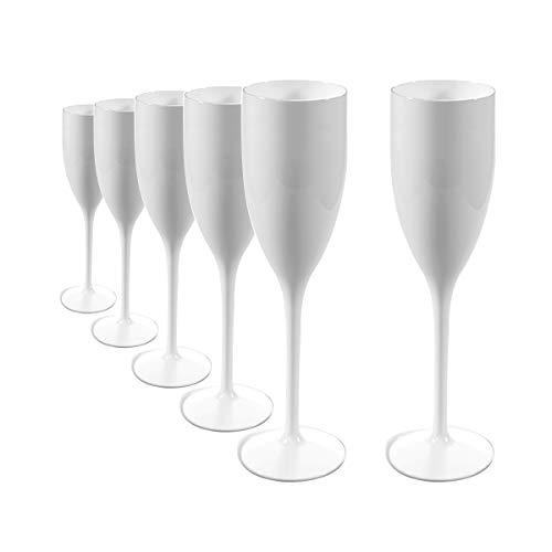 RB Unzerbrechlich Sektglas Weiß Polycarbonat Premium-Kunststoff 15cl, Stück 6