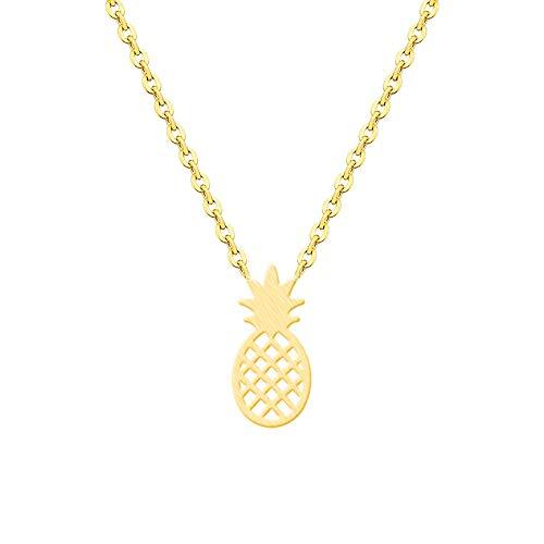JMZDAW Halskette Anhänger Goldene Früchte Ananas Halskette Frauen Sommer Tropische Schmuck Strand Bademode Party Geschenk, Eine