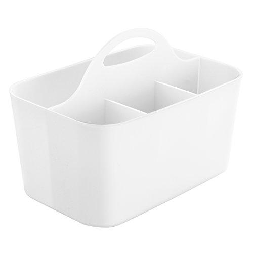 mDesign cesta organizadora con 4 compartimentos para accesorios bebe - Cesta plástico provista de asa para un cómodo transporte - Color blanco