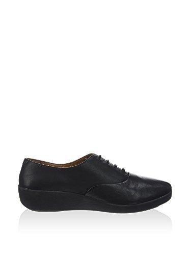 FitFlop F-Pop Patent, Chaussures à Lacets Femme Noir Oxford