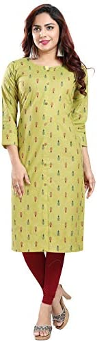 DARIKA natural cotton kurti for women in desi IKKAT print in straight fit round neck of green color for all pl