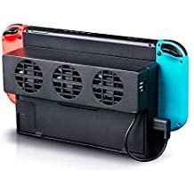 LinkStyle Nintendo Schalter Lüfter, Externe USB-Power Lüfter Dockingstation mit 3Kleinen Fans Super Turbo Temperatur Kühler Fan Ständer für Nintendo-Schalter Original Dock -