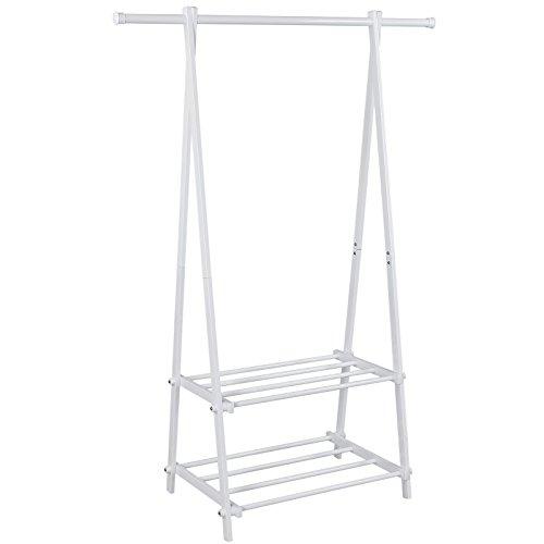 Songmics Kleiderständer Garderobenständer mit 2 Ablagen, Höhe 150 cm  Metall  Weiß LLR12W