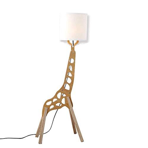 Lampadaire créatif de style nordique moderne Original bois 1.1m réglable décoration en bois humanoïde Girafe décoration à la maison Lumière permanente pour salon et chambre à coucher (couleur bois)