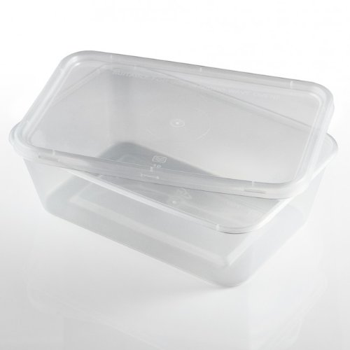 Thali Outlet - 50 x Rectangular 750ml Microwave Clear Plastic Food Containers Freezing Takeaway Hot Cold Foods by Thali Outlet Leeds