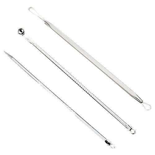 Veena Yost-Stainless Steel Blackhead Pickel Spot Extractor Remover Tool Kit 3Pcs Set