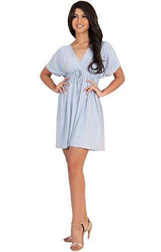 Koh Koh Damen Caftan Kaftan mit VAusschnitt Kimono Hülsesun Minikleid  Kleider Grau