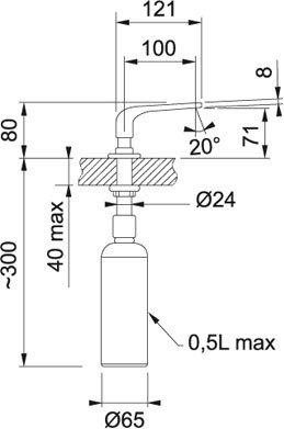 Preisvergleich Produktbild Franke Sinos Spülmittelspender, 500 ml edelstahl Oberfläche, 119.0261.514