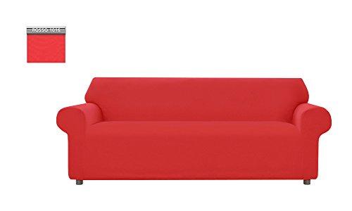 Copridivano genius tinta unita, per divano 3 posti, colore rosso 1016