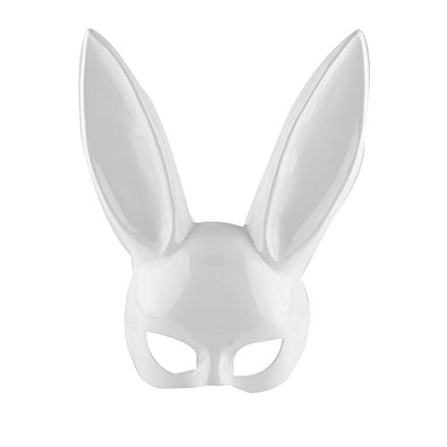 1 stücke PP Weiß Schwarz Lange Ohr Kaninchen Halbe Gesichtsmaske for Frau Halloween Party Weibliche Maskerade Masken Cosplay Kostüm Masken (Color : White)