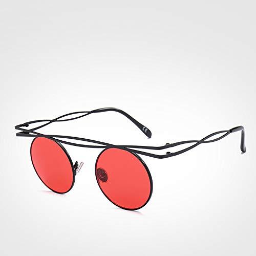 LXXSSRA Sonnenbrille Luxusmarke Steampunk Kleine Runde Sonnenbrille Damenmode Vintage Rote Sonnenbrille Herren Uv400 Grüne Sonnenbrille