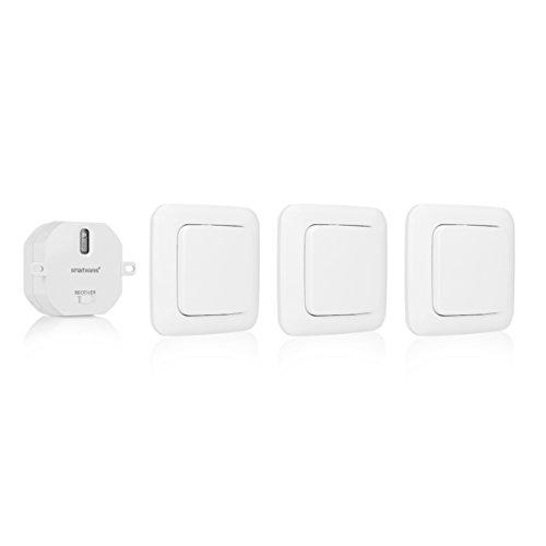 funkschalter fuer licht Smartwares SmartHome 3-er Set Funk-Wandschalter und 1 Einbauschalter für Geräte bis 1000 W Ideal für Das Schlafzimmer, 1 Stück, SH5-SET-BS