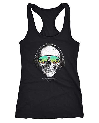 Neverless® Damen Tank-Top Totenkopf Skull Sonnenbrille Schädel Sounds of Detroit Music Racerback schwarz S (Skull Sonnenbrille)