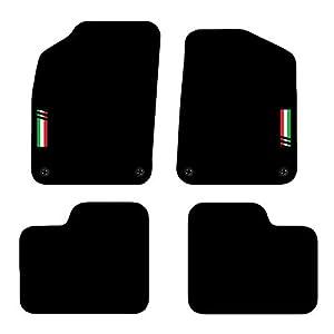 Carsio - Tappetini auto su misura per Fiat 500 dal 2012 in poi, 4 clip, colore: nero