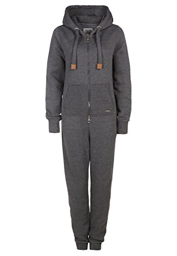 Eight2Nine Damen Sweat Overall | Kuscheliger Jumpsuit | Einteiler aus bequemen Sweat-Material einfarbig dark grey L