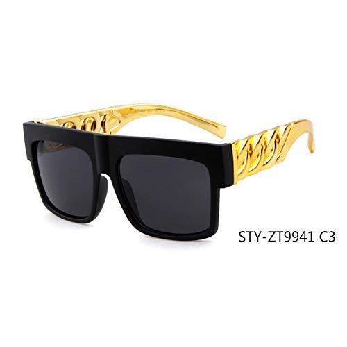 CCGSDJ Mode Goldkette Sonnenbrille Frauen Männer Vintage Promi Hip Hop Sonnenbrillen Eyewears