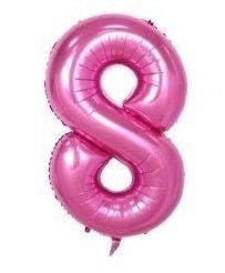 SiDeSo® 1 Folienballon XXL ROSA Heliumgeeignet Party Geburtstag Jahrestag Hochzeitstag Jubiläum Zahlenluftballon Luftballon Zahl (Zahl 8)