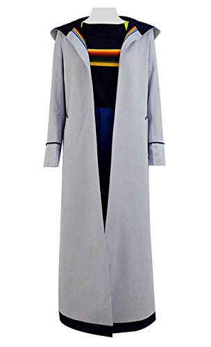 Qian Qian Dreizehnte Doktor Cosplay Kostüm Damen 13th Dr. Grau Mantel Vollständiger Satz Beige Langer Trenchcoat (L, Grau Vollständiger Satz)