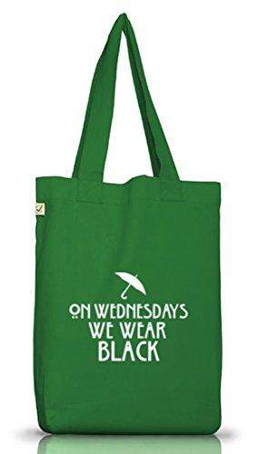 Shirtstreet24, AHS - On Wednesdays, Jutebeutel Stoff Tasche Earth Positive (ONE SIZE) Moss Green