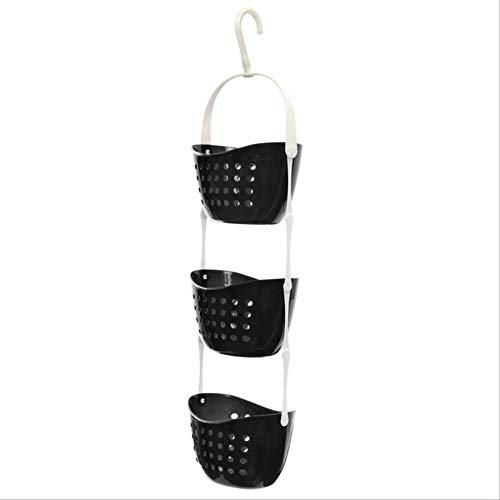 Einkaufskorb Txxzn Küche Obst Korb Dusche Caddy Dusche Rack Kunststoff Hängen Saubere Dusche Aufbewahrungstasche schwarz