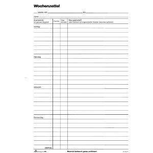 RNK Wochenzettel-Block A4 100 Blatt