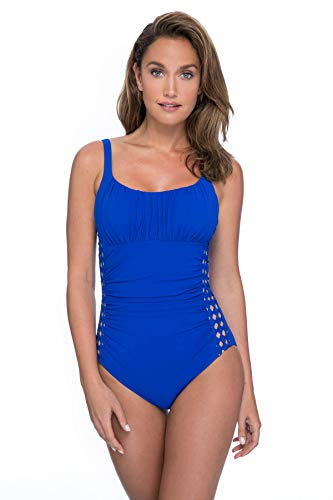 Profile by Gottex Women's Ruched Bust Scoop Neck One Piece Swimsuit