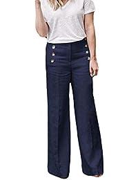 ZHRUI Pantalón Casual de Negocios para Mujer Pantalones con Botones  elásticos Pantalón Ancho Pantalones (Color d11c4eda5fe5