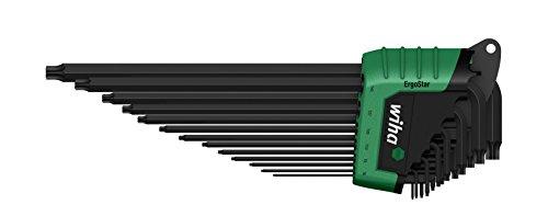Wiha TORX Festhaltemechanik Magicspring Stiftschlüsselsatz im ErgoStar Halter zum Auffechern der einzelnen Schlüssel / Stiftschlüssel-Set mit Sechskant-Klingen und Festhaltefeder für TORX- und TORX PLUS-Schrauben in praktischer Halterung / Brüniert, 13 teilig