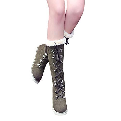 MYMYG Damen Schuhe Wildleder Schnürstiefeletten Elegante Plateau Lace-up Das Knie Anti Rutsch Runde...
