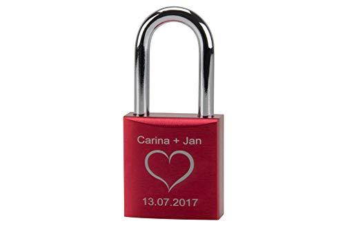 rr-handel Liebesschloss mit Gravur, individuelle Wunschgravur auf Schloss inklusive 2 Schlüssel rot