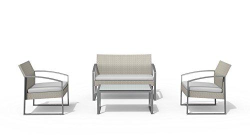 Salotto alicante colore bianco 2 poltrone, 1 divano, 1 tavolo.