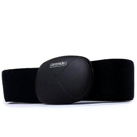 Arendo - ceinture de fréquence cardiaque / surveillance du rythme cardiaque (Heart Rate Monitor) | Sangle de poitrine | Transmetteur Bluetooth Smart 4.0 | Étanche | 14 grammes seulement | noir | pour produits
