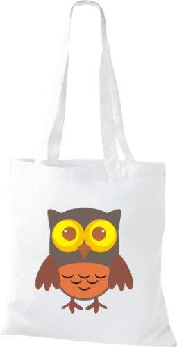Stoffbeutel Bunte Eule niedliche Tragetasche Owl Retro diverse Farbe weiss