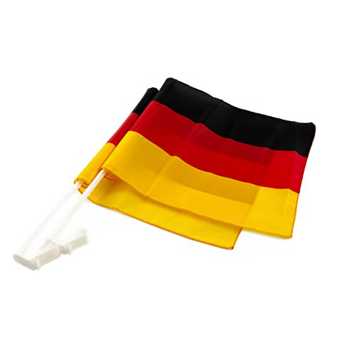 2er Set Auto-Fahne für Fußball-Fans, kräftige Deutschland-Farben, Schwarz-Rot-Gold, EM/WM, wind- und wetterfest, Kicken, Bolzen, Olympia, sichere und stabile Halterung, einfach zu befestigen