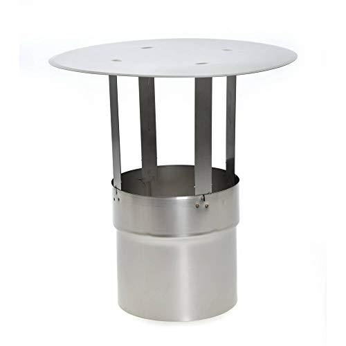 acerto 30163 Cubierta de chimenea de acero inoxidable 130mm * Resistente a la intemperie * No requiere aprobación * Fácil instalación | Cubierta de lluvia cubierta de chimenea cubierta