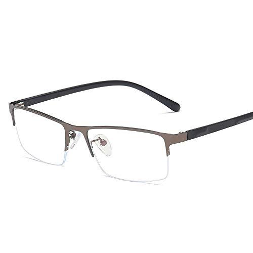 Gläser Men Metal Plain Glasses TR Spiegelbein Platz Halbrahmen Anti Blue Light Flat Glasses Brillen (Color : Dark Sliver, Size : Kostenlos)