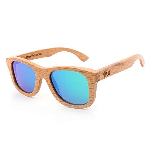 LKVNHP Frauen Männer Holz Bambus Sonnenbrille Polarisierte Linse Retro Vintage grüne linse