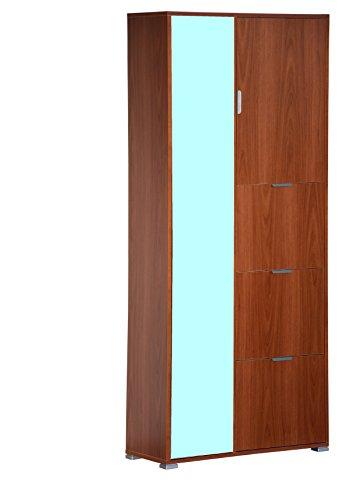 Memi me610noc armadio con anta specchio e porta scarpe gia' montato, legno, noce, 35x83x193 cm