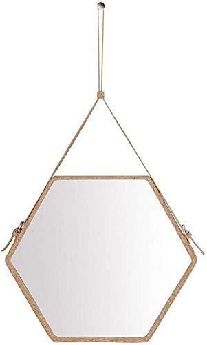Light up Life& Colgar de la Pared Decorativa Borde de Cuero de imitación Espejo Hexagonal - 3 Marco...