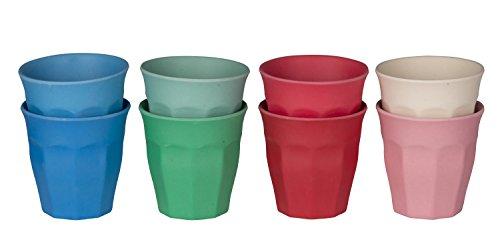 idea-station Bamboo Becher 250 ml, 8 Stück aus Bambus und Mais, 8 Pastell-Farben, farbig, bunt, rund, stapelbar, Bambusfaserbecher, perfekt als Wasser-Gläser, Wasser-Becher, Trink-Gläser, Party-Becher einsetzbar