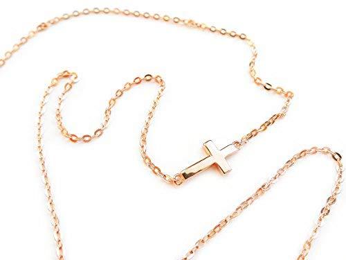 Kleine Seitwärts-Kreuz-Halskette, 925 Sterlingsilber, Roségold, horizontale Geschenk-Box -
