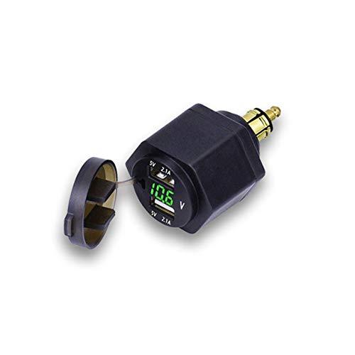Parkomm - Cargador para mechero de Coche (Doble USB, con voltímetro LED...